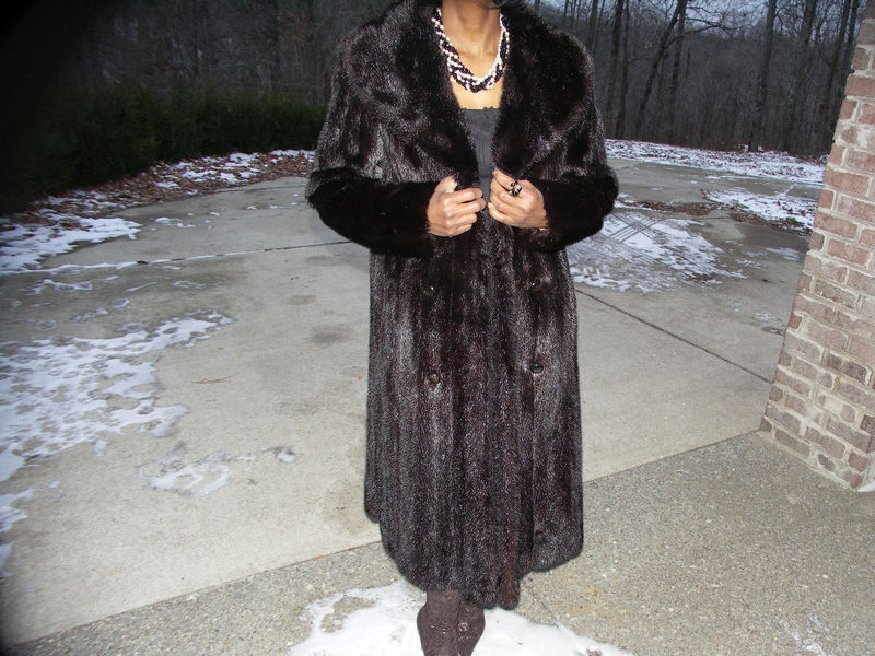 Doublebreast Black Full Length Mink Fur Coat Jacket S-M