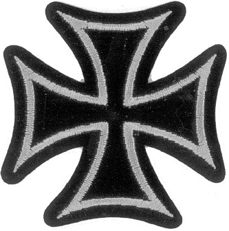 Embroidered Patch Iron Cross Silver and Black Patch