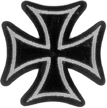 Embroidered Patch Iron Cross Silver and Black Patch - $3.95