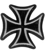 Embroidered Patch Iron Cross Silver and Black P... - $3.95