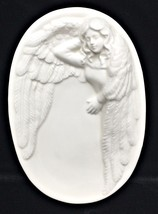 Vintage White Angel Soap Trinket Vanity Oval Pin Dish McConnell Talus Co... - $19.24