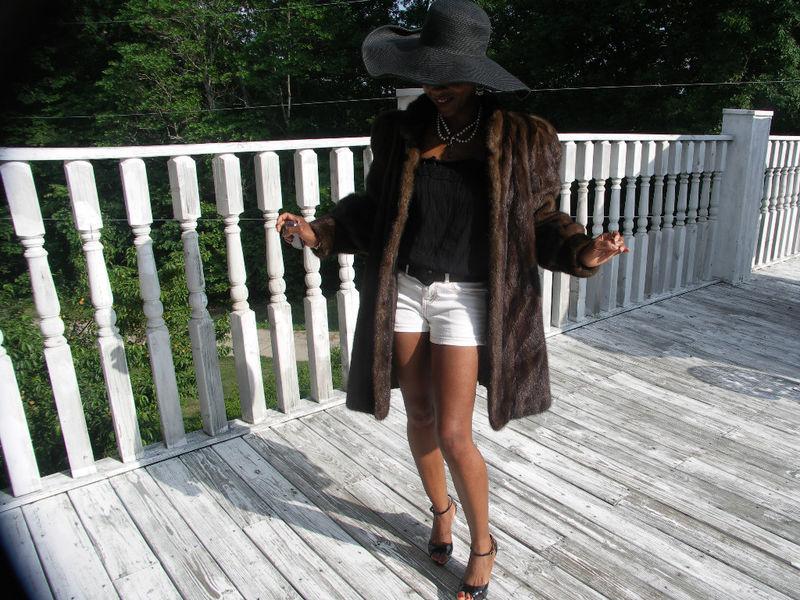 Elegant Midi FL Swing Saga Mink Fur Coat jacket S-M