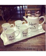 White Europen Ceramic Teaset with Tray Coffee Milk Tea Cup Set Wedding G... - $169.50