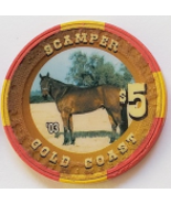 Scamper 1996 Pro Rodeo Hall of Fame Gold Coast $5 Casino Poker Chip - $19.95
