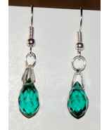 Dainty Green Briolette Crystal Dangle Earrings  - $10.00