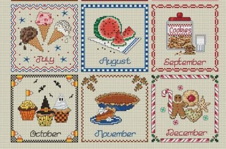 Dessert of the Month Club Rel #3 May-Augustl cross stitch Sue Hillis