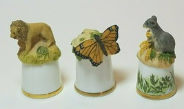Sutherland England Porcelain Resin Thimble Lot of 3 Lion Monarch Butterf... - $24.70