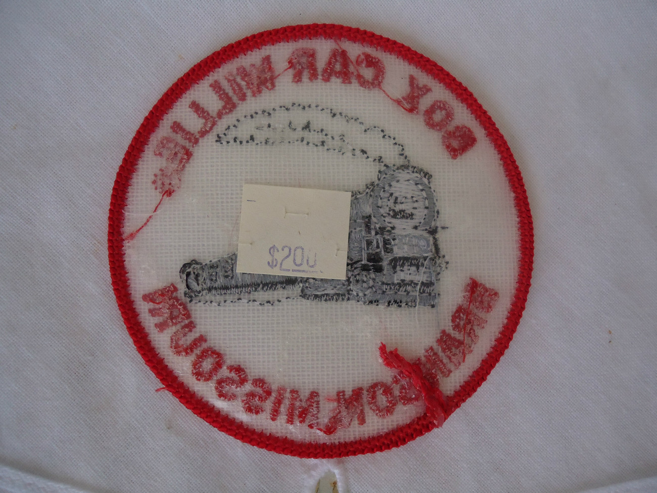 Vintage Embroidered Iron On Applique Railway Box Car Willie Branson , Missouri
