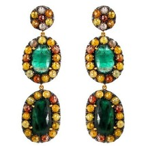 Pave 15.30ct Color Diamond Emerald Gemstone 14k Gold Dangle Earrings .92... - $2,322.88