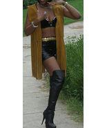 Fab A. MerCado brown Leather Long fringe Vest Top S 40 - $296.99