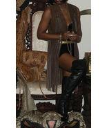 Fab Custom dark brown Leather Long fringe Vest Top S - $395.99