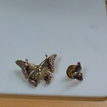 LC Liz Claiborne Butterfly Enamel/Rhinestone Brooch and Tac Pin - $35.39