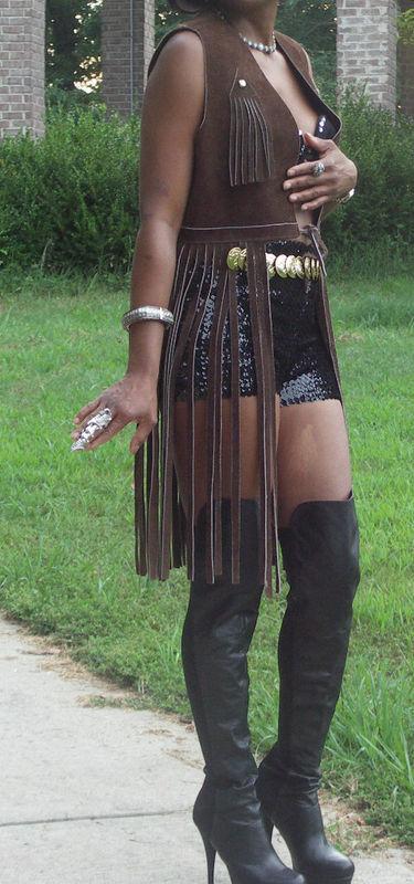 Fab Custom dark brown Leather Long fringe Vest Top S
