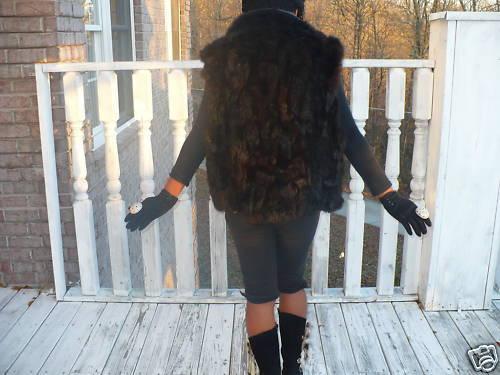 Fab! Designer Black Andrew Marc Opossum Fur Vest coat M