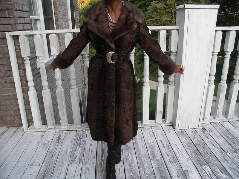 Fab Full length Brown black Swakara & mink Fur Coat S-M