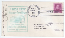 First Trip Highway Post Office SIGNED 1950 Des Moines Shenandoah IA HPO ... - $3.99