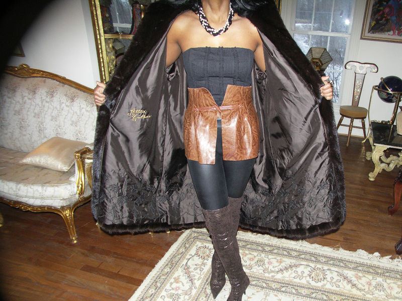 Fab Swing brown black Designer mink fur coat jacket M-L