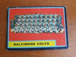 1962 TOPPS #12 BALTIMORE COLTS TEAM CARD W/JOHNNY UNITAS & LENNY MOORE - $4.95