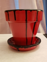 """""""Madam Red"""" Hand-painted 4in Terracotta plant/flower pot - $15.00"""