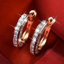 Fashion Round Crystal Gold Studs Earrings Rhinestone Ear Clip for Women - $4.08