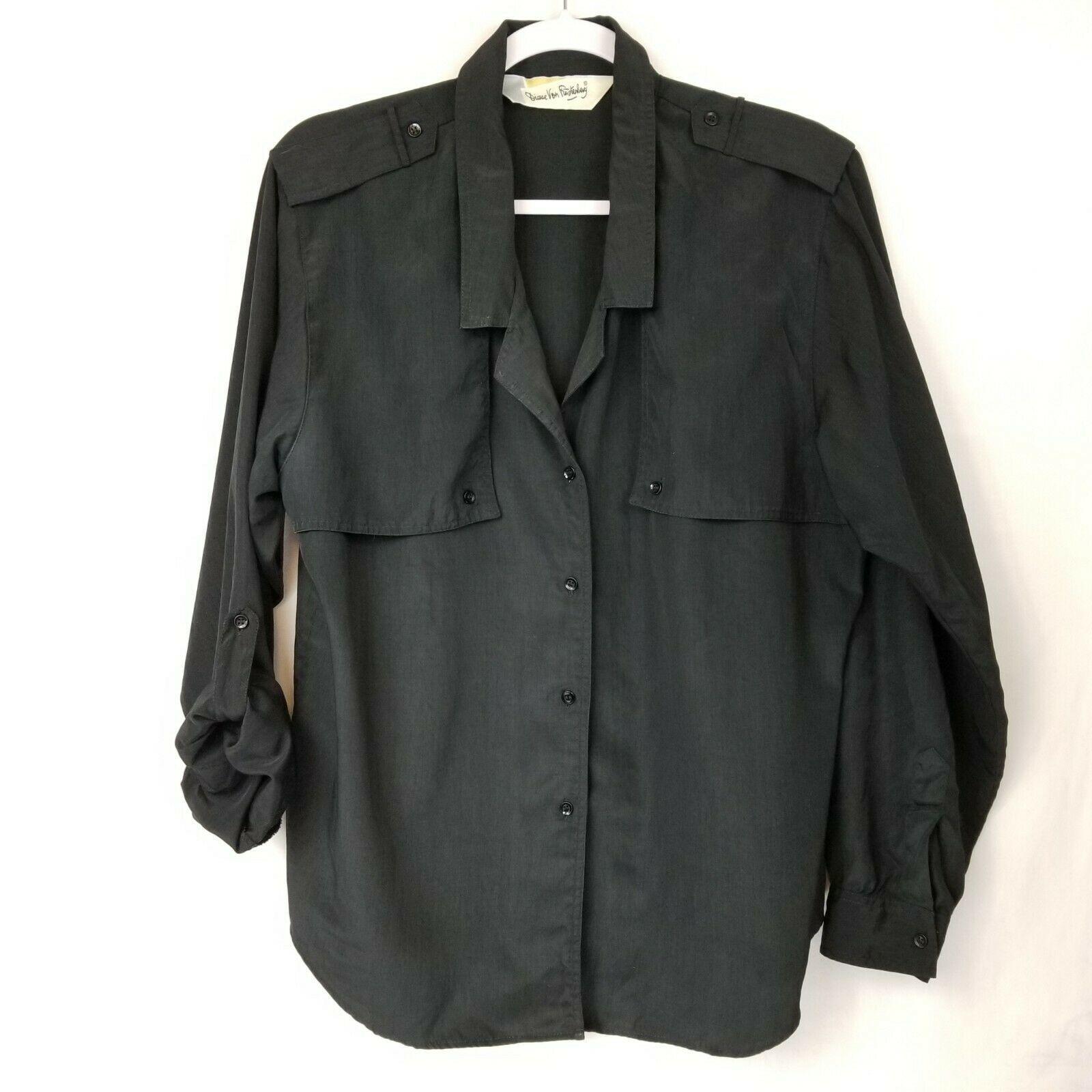 Vtg Diane von Furstenberg DVF Woman's Top Blouse Shirt Button Front Black Sz L image 7