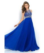 Floor Length Sexy Backless Beaded Crystal Long Prom Dresses Royal Blue W... - $125.00