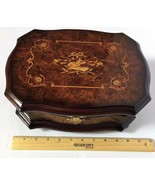 VTG Dark Brown Violin Wooden Inlaid Lacquer Jewelry Box with Mirror 11 x... - $199.99