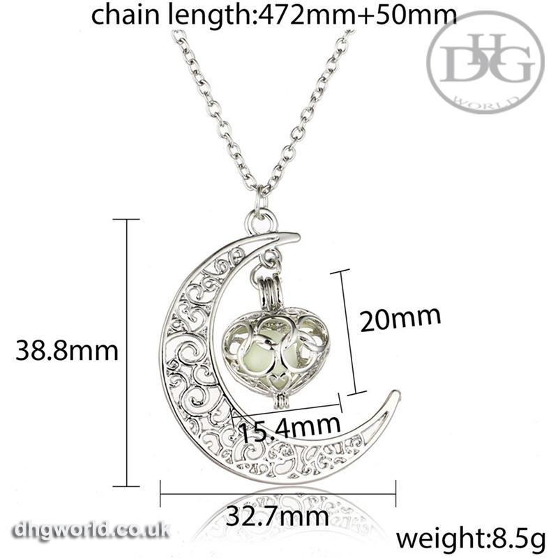 YAKAMOZ Enchanting Moon & Heart Theme Ladies Necklace - Glow in the Dark image 3