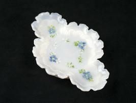 Dithridge Pansy Scroll Milk Glass Pin Dish Tray, Antique EAPG c1900 Blue... - $24.95
