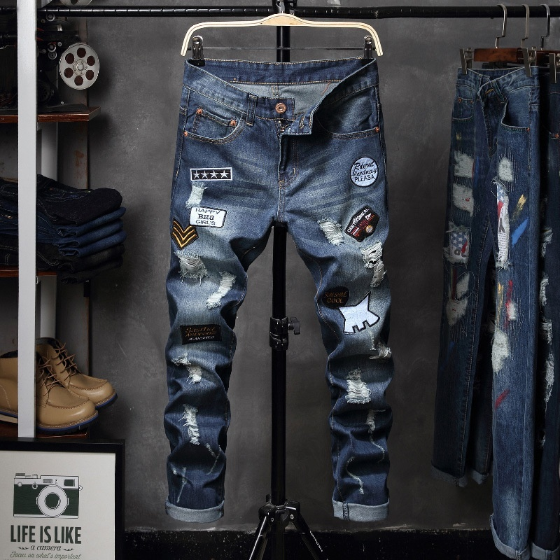 Primary image for Jamickiki Autumn Winter Men Fashion Printed Casual Jeans