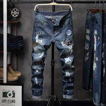 Jamickiki Autumn Winter Men Fashion Printed Casual Jeans - $31.62