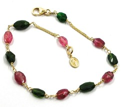 18K YELLOW GOLD ROSARY BRACELET, PURPLE GREEN TOURMALINE, MINI MIRACULOU... - $349.00