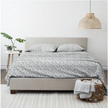 Home Collection Premium Botanical 4-piece Flannel Bed Sheet Set In Light Gray - $50.00