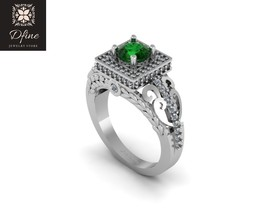 Green Emerald Exclusive Design Womens Anniversary Ring In Solid 10k White Gold  - $449.99