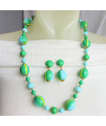 Vintage 1960s Mod Pop Green Aqua Yellow Bead Necklace Clip Earrings Hong... - $19.35