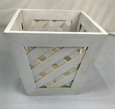 Wooden White Lattice Look Basket Planter Garden Home Decor Wedding - $19.80