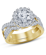 Round Cut Diamond Solitaire Bridal Set Engagement Ring 14K Yellow Gold F... - $97.85