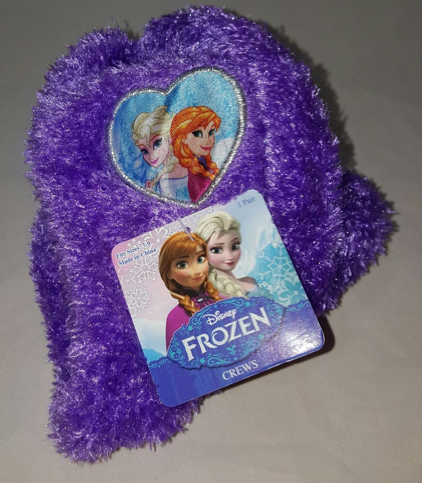 NEW WITH TAG DISNEY FROZEN ELSA AND ANNA COZY CREW SOCKS , 7-9 , PURPLE
