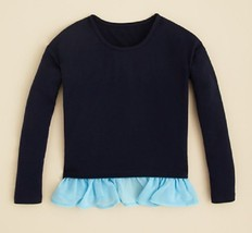 Aqua Girls' Ruffle Hem Top, Navy/Light Blue, Size M - $20.56