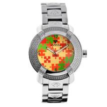 New Aqua Master Mens Diamond Watch Round Red Green Mosaic Dial Steel Bra... - $199.00