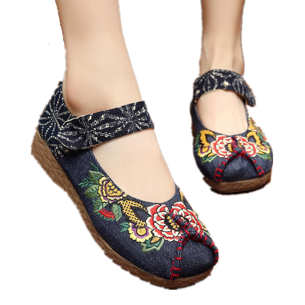 Primary image for Chinese Cotton and linen national wind Embroidy Shoes embroidered Shoes navy