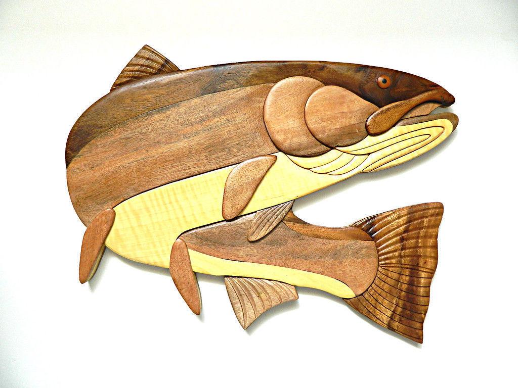Steelhead Trout Fish Fishing Intarsia Wood and similar items