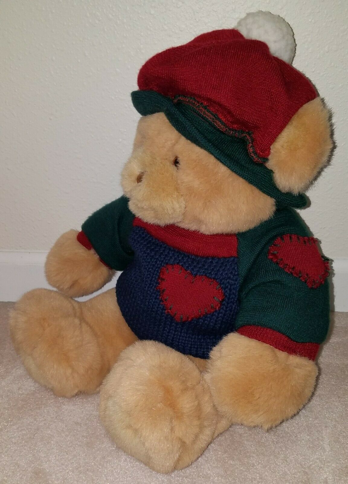 Commonwealth Brown Teddy Bear Plush Stuffed Animal Sweater Hat Blue Green Red