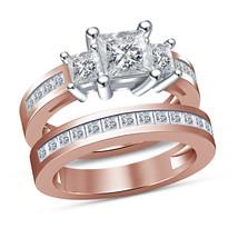 1.50Ct Princess Cut Diamond Wedding Band Engagement Ring Set Rose Gold F... - $87.97