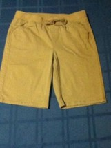 Size 10 Justice uniform shorts long uniform khaki elastic waistband beige girls - $12.59