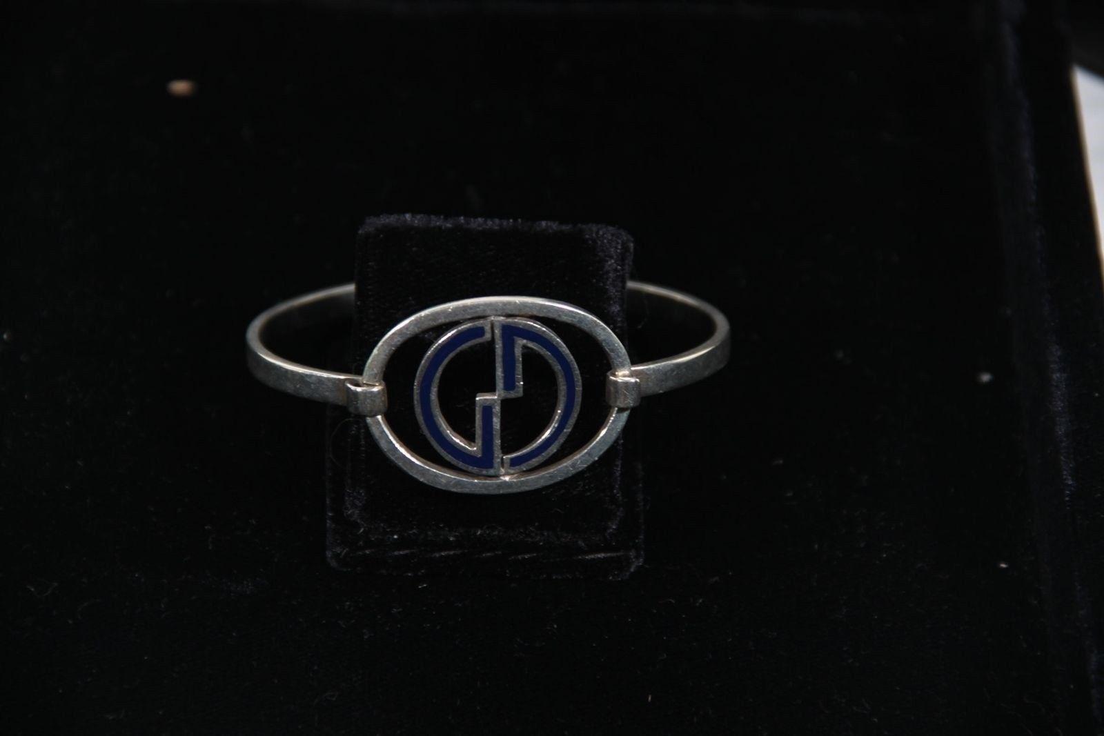 9cea6e195 ... Authentic GUCCI VINTAGE Sterling Silver BANGLE Blue Enamel GG LOGO  Bracelet ...