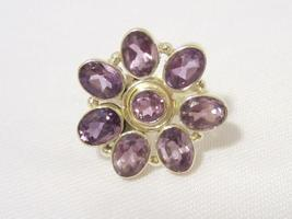 Sterling Silver Natural Amethyst Flower Cluster Ring Size 7 - $30.00