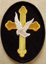Embroidered Christian Patch The Cross and The Dove Patch - $3.95