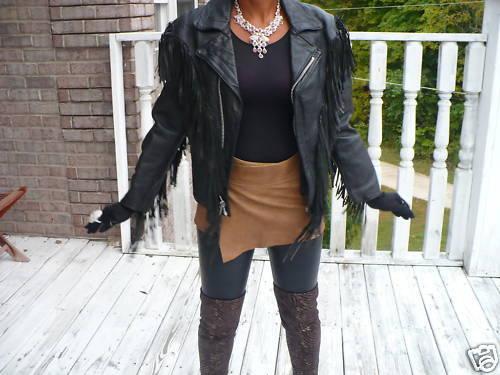 Rare Fringe custom weathered motorcycle Black Leather coat bolero jacket  XXS-S