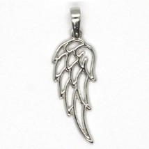 SOLID 18K WHITE GOLD PENDANT MEDAL, STYLIZED ANGEL WING, WINGS, MADE IN ITALY image 2
